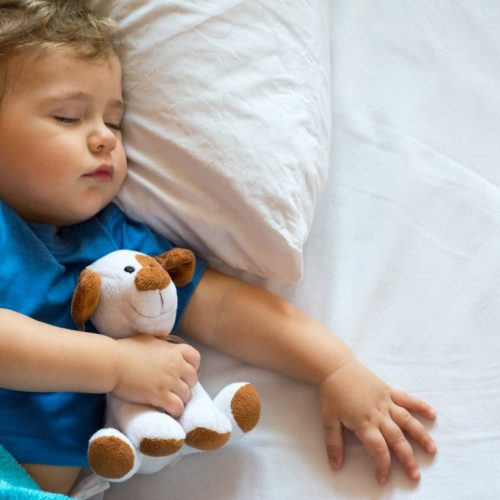 Cute baby boy sleeping on the bed at home with toy. Free space
